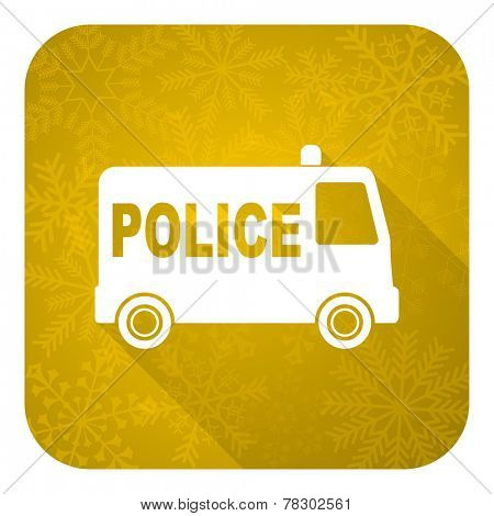 police flat icon, gold christmas button