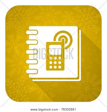 phonebook flat icon, gold christmas button