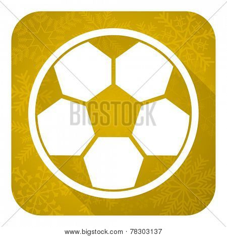 soccer flat icon, gold christmas button, football sign