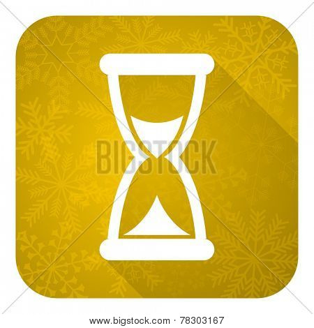 time flat icon, gold christmas button, hourglass sign