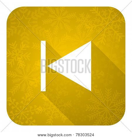 previous flat icon, gold christmas button