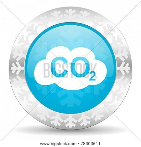 carbon dioxide icon, christmas button, co2 sign