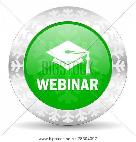 webinar green icon, christmas button