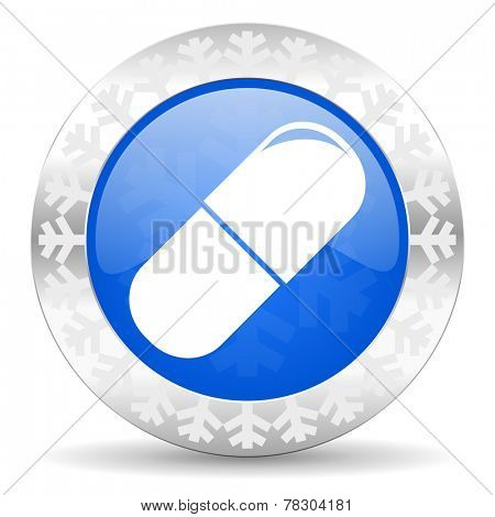 drugs blue icon, christmas button, medical sign