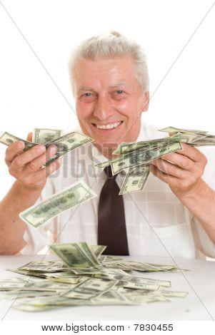 Elderly Man Holding Money