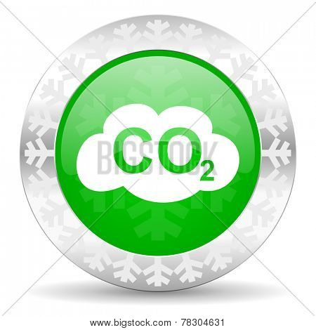 carbon dioxide green icon, christmas button, co2 sign