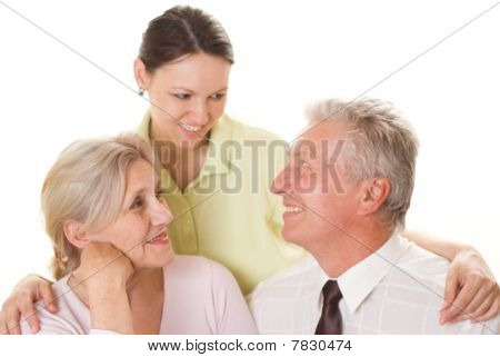 Elderly Couple With A Daughter