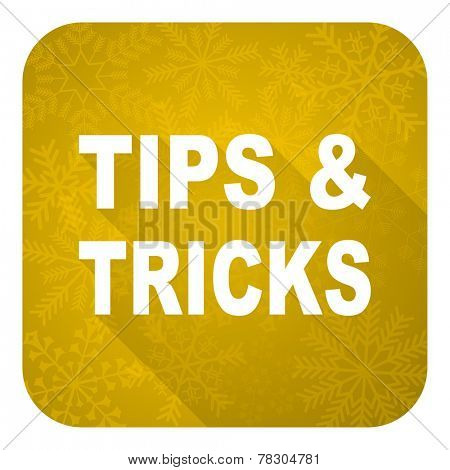 tips tricks flat icon, gold christmas button