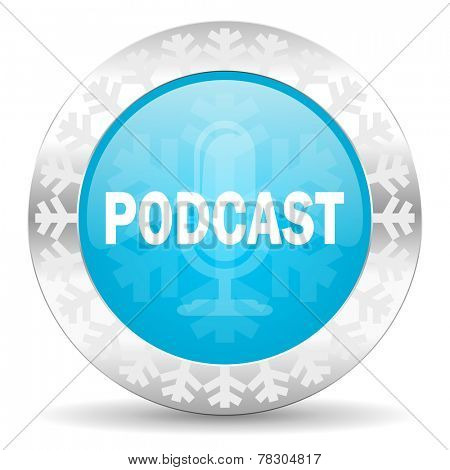 podcast icon, christmas button