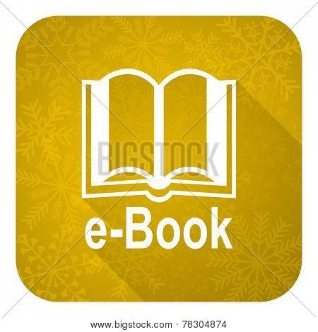 book flat icon, gold christmas button, e-book sign