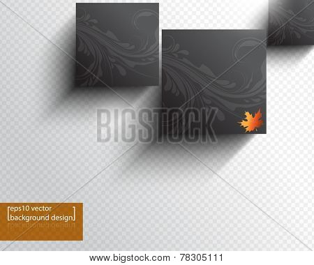 eps10 vector geometric box frame with leaves foliage business background