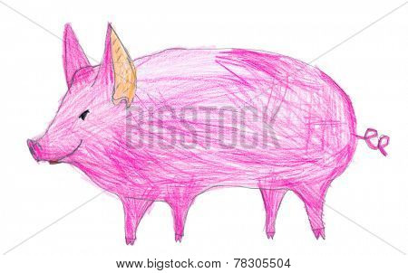 pink pig. children pencil drawing