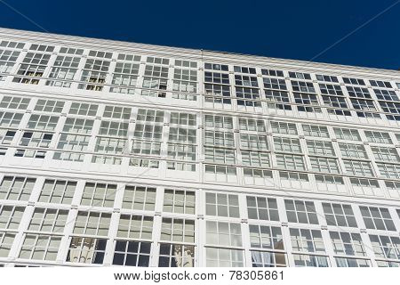 Wooden Glazed Windows In A Coruna, Galicia, Spain.