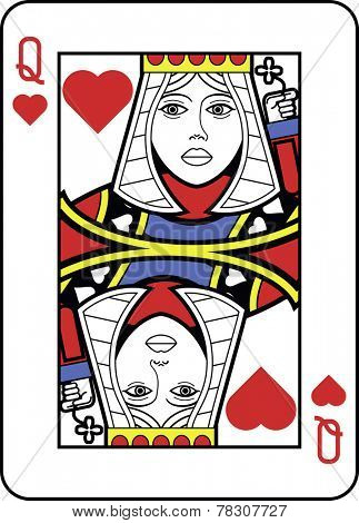 Stylized Queen of Hearts with strong outline