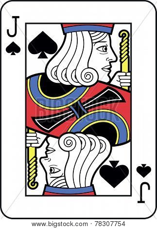 Stylized Jack of Spades with strong outline