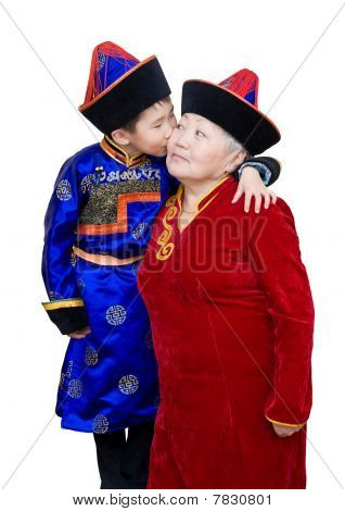 Grandson Kisses His Grandmother