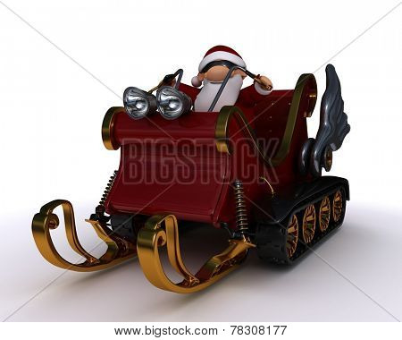 3d render of santat in a snowmobile sleigh