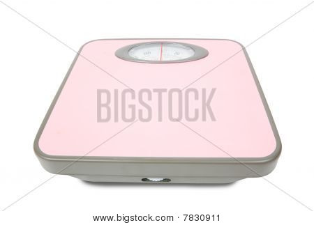 Pink Weighing Scales Isolated
