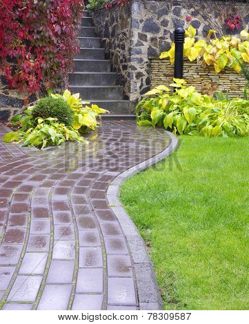 Garden stone path with grass growing up between the stones after rain.