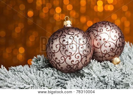 Christmas ball on sparkles background