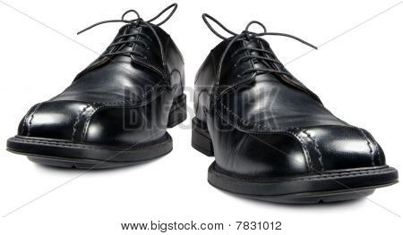 Classic Men's Black Club Shoe Isolated Macro Closeup