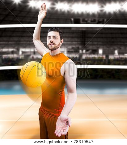 Volleyball player on orange uniform on volleyball court