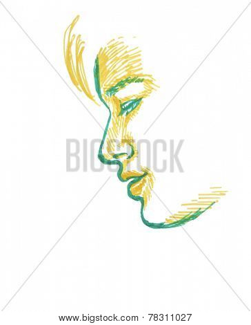 Sketch Of Boy, Side View Of Face, Hand Drawing On White Background.