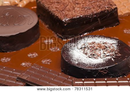 still life of chocolate with Wiener cake and chocolate cakes