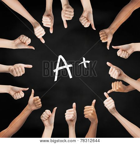school, education, gesture and people concept - human hands showing thumbs up in circle over black board background with a mark