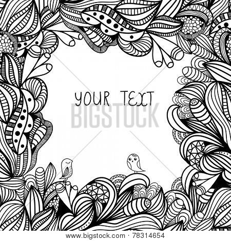 Hand drawn abstract doodle card design. Black and white floral background. Vector illustration for design of gift packs, wrap,  greeting cards, wallpaper, web sites and other.