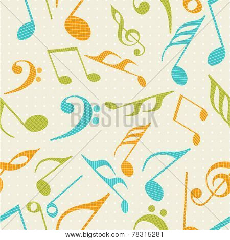 Musical seamless pattern wallpaper with colorful musical notes.
