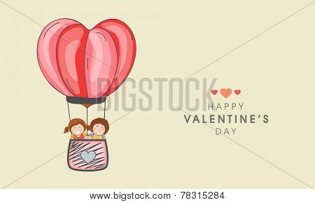 Happy Valentine's Day celebration concept with cute kids in hot air balloon.
