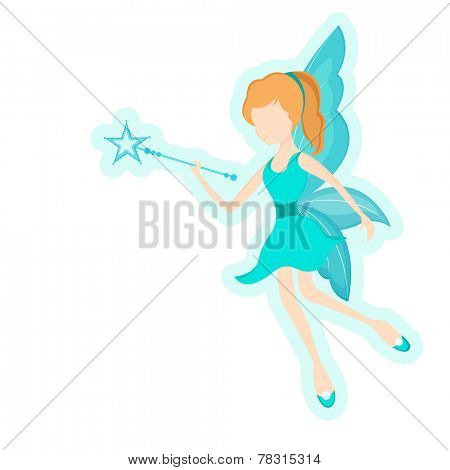 Beautiful young angel holding magic stick in her hand on white background.