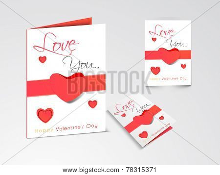 Beautiful greeting cards or love cards with hearts and Love You text for Happy Valentine's Day celebration on shiny grey background.