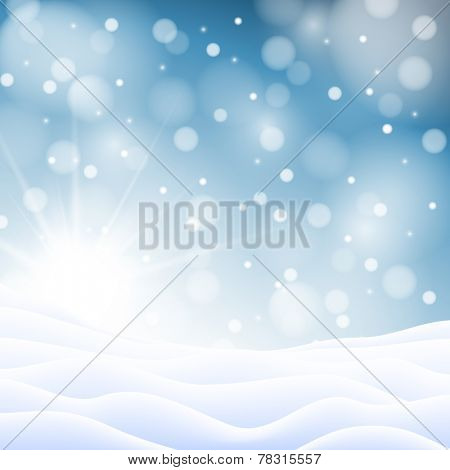Christmas snowy background with sun, snowflakes and snowdrifts
