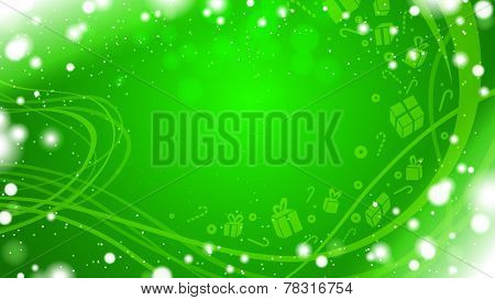 green horizontal background with snow, gifts and waves borders