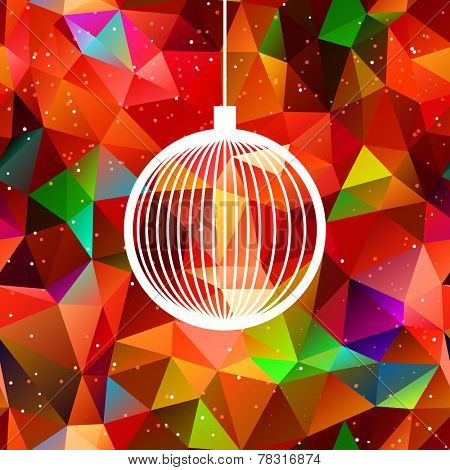 abstract christmas ball with multicolor polygonal background