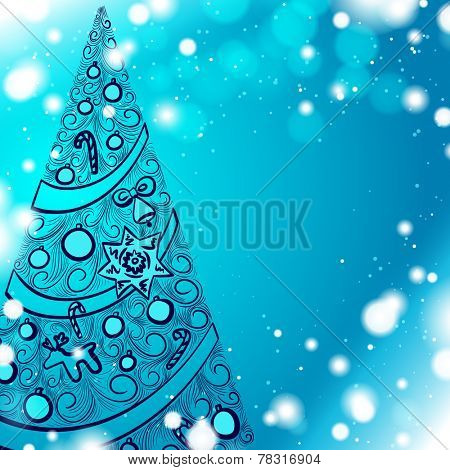 Abstract christmas tree outline