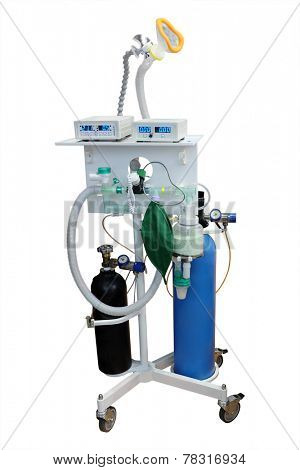 artificial respirating unit isolated under the white background