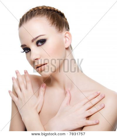 Sensuality Woman With Hands On Body