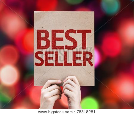 Best Seller card with colorful background with defocused lights