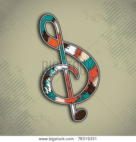 Colorful musical g-clef on stylish background.