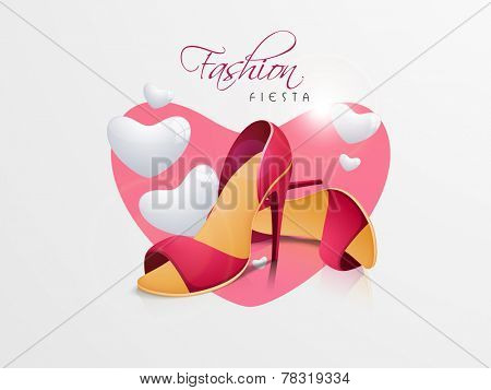 Women's heel sandals with stylish text of Fashion Fiesta and heart shape on light grey background.