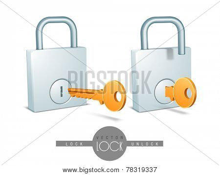 Stylish glossy lock and unlock system with orange keys for security on white background.