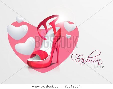 Women's heel sandal in pink heart shape and stylish text of Fashion Fiesta on beige background.