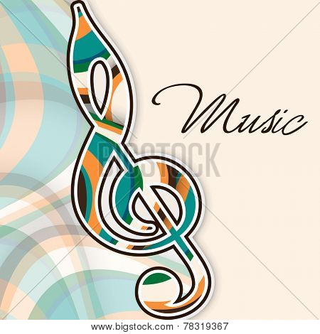 G-clef with stylish text of Music on stylish abstract background.
