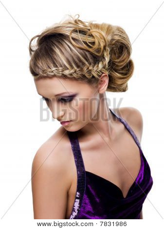 Beautiful Curly And Pigtail Hairstyle