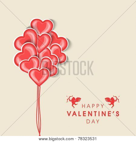 Happy Valentine's Day celebration greeting card or love card design with heart shape balloons.