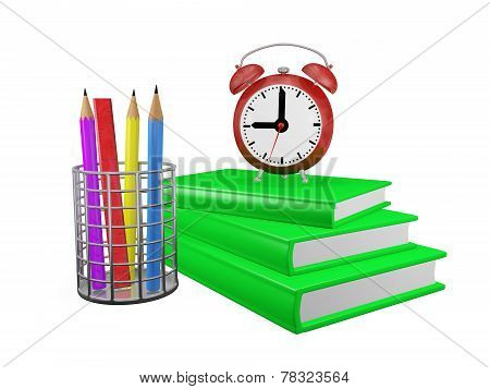 Books Pencils And Alarm Clock