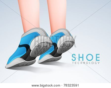 Human wearing sports shoes and stylish text of Shoe Technology on stylish background.